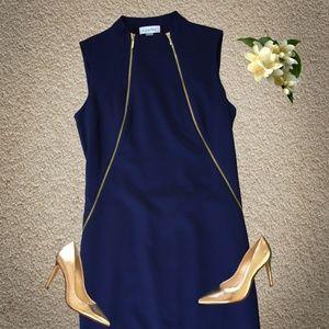 Calvin Klein Navy Zip Front Shift Dress Size 2